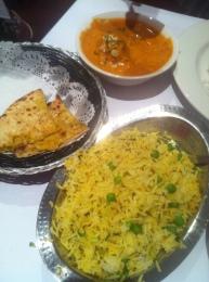 cheese naan, haldi jeera rice and gulbadan kofta